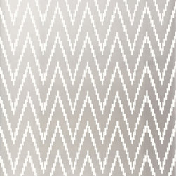Schumacher - Kasari Ikat Wallpaper, Silver - Price and Sold by the Double Roll. 9 Yard on A Roll