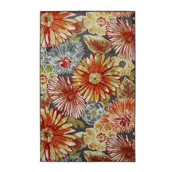 Mohawk Home - New Wave Charm Multi Floral 5' x 8' Mohawk Rug (11673) - Fresh and vivid colors give this oversized floral pattern a look that is on trend as well as fun. Pair this design with neutral furniture to create a dramatic visual statement for your floor. Action Backing