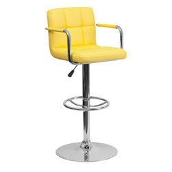 Flash Furniture - Flash Furniture Contemporary Yellow Quilted Vinyl Adjustable Height Bar Stool - This sleek dual purpose stool easily adjusts from counter to bar height. The simple design allows it to seamlessly accent any area in the home. Not only is this stool stylish, but very comfortable to provide you with an amazing sitting experience! The easy to clean Vinyl upholstery is an added bonus when stool is used regularly. The height adjustable swivel seat adjusts from counter to bar height with the handle located below the seat. The chrome footrest supports your feet while also providing a contemporary chic design.