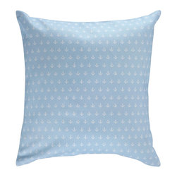 Nine Space - Anchor Pillow Cover, Sky Blue - A nod to the nautical, this natty pillow cover has an allover anchor print that adds a pop of personality to your space, whether on a white wicker chaise, a striped couch or atop a bed. It's bold enough to stand on its own, but also looks great mixed with solids and stripes.