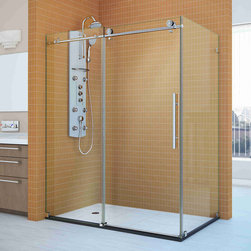 """BathAuthority LLC dba Dreamline - Enigma-X Fully Frameless Sliding Shower Enclosure, 34 1/2"""" D x 60 3/8"""" W x 76"""" H - The Enigma-X shower enclosure stuns with an elegant frameless design that rivals custom glass for an amazing value. The sophisticated Stainless Steel hardware is a perfect mix of exceptional quality and cool urban style. Premium 3/8 in. thick tempered glass is treated with dream line exclusive clear glass protective coating for superior protection and easy maintenance. The Enigma-X commands attention with extreme style and ultimate quality."""