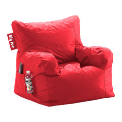 "Comfort Research - Big Joe Flaming Red Dorm Chair in SmartMax - It's only called the Dorm Chair because our marketing team said ""The Best, Most Comfortable Chair For Dorm Rooms and Bedrooms and Family Rooms and Living Rooms and Cozy Basement Rooms and All Rooms for All Users"" was a bit too long. Complete with a drink holder, side pocket and easy-to-haul handle, the Dorm Chair has everything you need for wherever you decide to put it."