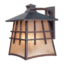 Designers Fountain - Designers Fountain Oak Park Traditional Outdoor Wall Sconce X-PM-12703 - This Designers Fountain Oak Park Traditional Outdoor Wall Sconce is designed in the Mission-style. It has a frame in a warm, Mediterranean patina finish with a pyramid roof and panels of amber patina glass. The strong and simple lines give this wonderful, four-light piece a clean and crisp appearance.