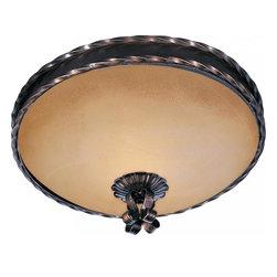 Joshua Marshal - Two Light Oil Rubbed Bronze Vintage Amber Glass Bowl Flush Mount - Two Light Oil Rubbed Bronze Vintage Amber Glass Bowl Flush Mount