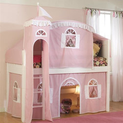 Bolton Furniture - Cottage Twin Loft Bed w Top Tent, Tower & Pink-White Bottom Curtain - Includes twin headboard & footboard, birch side rail set, low loft kit, Pink & White bottom curtains in front and two ends, top on Pink with White trim, top frame and metal tower. Beds come complete with slat roll (no additional support necessary). Solid frame construction built to last. Bed assembly features barrel nut & bolt (metal to metal connections). Made of solid wood & veneers. Twin size bed. White finish. Height from bottom rail to floor - 34 in. Assembly required. 1-Year warranty. 42 in. W x 79 in. D x 65 in. H. Low Loft Assembly Instructions. Curtains Assembly Instructions. Top Tent Assembly Instructions. Tower Assembly Instructions. Bunk Bed Warning. Please read before purchase.. NOTE: ivgStores DOES NOT offer assembly on loft beds or bunk beds.