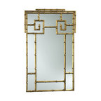 Kathy Kuo Home - Hollywood Regency Faux Bamboo Large Gold Foyer Mirror - One of our favorite motifs which bridges French Country and Hollywood Regency style is the use of gold bamboo details.  This mirror adds reflective chic to the classic grid style, creating a must-have for fans of feminine style.