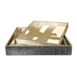 Interlude Home - Interlude Home Flair Silver Leaf Trays - These Interlude Home Silver Leaf Trays are crafted from Wood and finished in Silver Leaf and White.  Overall sizes are: 20 in. W  x  20 in. D x 3 in. H.  18 in. W  x  18 in. D x  3 in. H.
