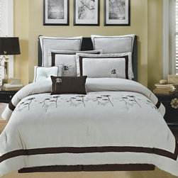 Bed In A Bag - 12pc Luxury Bed in a Bag- Spring Hill Beige/ Chocolate-Queen - This comforter combines a casual look with pure comfort. Please select sheet set color when ordering.  The comforter and pillow shams feature and color blocking design along with pin tucking details for added dimension. If you want to give your room a relaxing feel, this comforter is the set for you. 100% Polyester,  Machine Washable