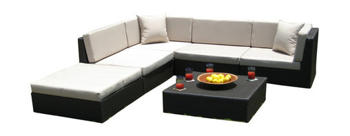 MangoHome - Outdoor Wicker Furniture New All Weather PE Resin 6pc Patio Deep Seating Section - Outdoor Wicker Furniture New All Weather PE Resin 6pc Patio Deep Seating Sectional Sofa Set.