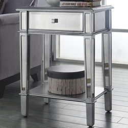 Coaster - Accent Table, Antique Silver - This modern accent table will add an elegant and classy feel to any room with its mirrored panels around the whole piece and an antique silver finish. Also offers a drawer and bottom shelf for additional storage.