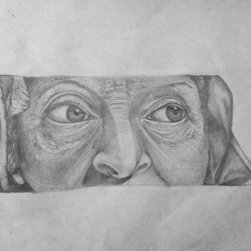 The Last Glimpse  (Original) by Brandon Franco - detailed drawing of an old woman's stare