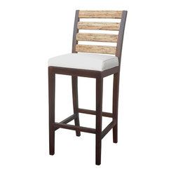 "Jeffan - Newport Barstool - Features: -Barstool. -Frame finisHeight: Espresso. -Back finisHeight: Natural. -Hardwood construction. -Rattan lamination. -Cover cushion: SR oatmeal. -Enhanced performance against outdoor elements. -Dimensions: 44"" H x 18"" W x 20.5"" D."