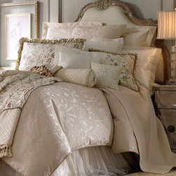 "Isabella Collection - ""Calais"" Bed Linens   - This bedding ensemble features gorgeous details like silk, ruffles, flowers, synthetic pearls, and damask.  Linens are embroidered with lavender flowers for a truly romantic bed."