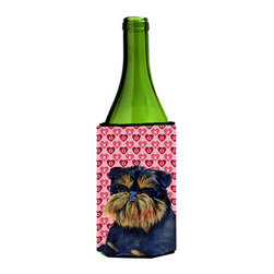 Caroline's Treasures - Brussels Griffon Love Valentine's Day Portrait Wine Bottle Koozie Hugger - Brussels Griffon Hearts Love and Valentine's Day Portrait Wine Bottle Koozie Hugger LH9163LITERK Fits 750 ml. wine or other beverage bottles. Fits 24 oz. cans or pint bottles. Great collapsible koozie for large cans of beer, Energy Drinks or large Iced Tea beverages. Great to keep track of your beverage and add a bit of flair to a gathering. Wash the hugger in your washing machine. Design will not come off.