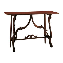 Tuscan Hills - Tuscan Console Table from Italy - Made in Italy near the town of Citta di Castello (Umbria), this solid walnut wood console table is perfect for an entrance way, behind a sofa, or below a piece of wall art. The simple yet beautiful classic Tuscan design with a slightly antiqued finish - further reminds us of the old world workmanship that goes into every piece.