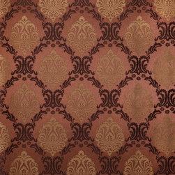 Wallpaper Worldwide - Kiera - Pretty Damask Wallpaper, Gold, Chocolate, Pink - Material: Paper