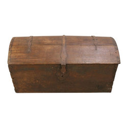 EuroLux Home - Consigned Antique 1820 French Oak Trunk Original Iron - Product Details