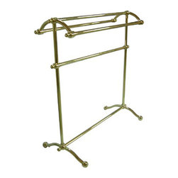 "Kingston Brass - Pedestal Towel Rack - Kingston Brass' bathroom accessories are built for long-lasting durability and reliability. They are designed so you can easily coordinate matching pieces. Each piece is part of a collection that includes everything you need to complete your bathroom decor.; 29-1/2"" tall; 28"" wide; Triple towel rack design; Easy assembly; Matching accessories available; Material: Brass; Finish: Polished Brass; Collection: Vintage"