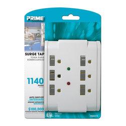Prime Wire - Prime Wire 6-Outlet 1140J Surge Tap w/ Sliding Outlet Safety Covers - 6-Outlet 1140J Surge Tap w/ Sliding Outlet Safety Covers