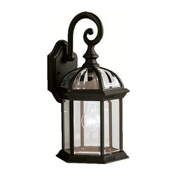 Kichler Lighting - KICHLER 9735BK New Street Transitional Outdoor Wall Sconce - With its timeless profile, this 1-light wall lantern is perfect for those looking to embellish classic sophistication outdoors. Because it is made from cast aluminum and comes in this beautiful Black finish, this wall lantern can go with any home décor while being able to withstand the elements. It features clear beveled glass panels, uses a 100-watt (max.) bulb. U.L. listed for wet location.