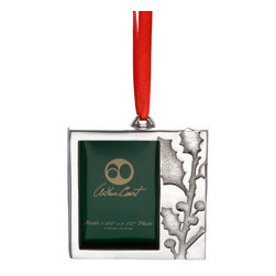 Arthur Court - Holly Photo Frame Ornament - Wash by hand with mild dish soap and dry immediately. Product not intended as cookware. Can withstand 350 F. Refrigerator and freezer safe.