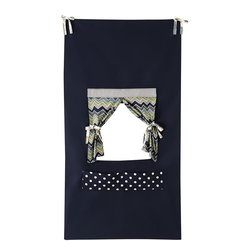 """Home Decorators Collection - Kids Puppet Theater - Our Kids Puppet Theater makes it easy for your child to host a puppet show for family and friends. Featuring a center stage opening with tie-back curtains, this theater is the perfect size to hang in a doorway. Get the show started with our Kids Puppets, sold separately. 100% cotton. Hangs from fabric ties. 17"""" x 17"""" opening for puppet show. Two pockets for holding puppets, sold separately. Assembled in the USA."""