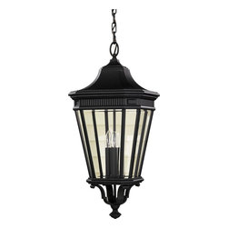 Murray Feiss - Murray Feiss Cotswold Lane Transitional Outdoor Hanging Light X-KB2145LO - The handsome design of this outdoor hanging light is inspired by the traditional designs of European lanterns. The clear beveled glass ensures a brilliant quality of light, complemented by the black finish.