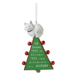 "Midwest CBK - Oh Christmas Tree Ornament - Xmas Cat & Bells Funny Holiday Gift Decoration - ""Oh Christmas Tree"" Cat Ornament"