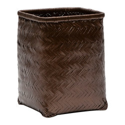 """Pigeon & Poodle - Pigeon & Poodle Lugo Bronze Square Wastebasket - A lacquered finish updates the Pigeon & Poodle Lugo square wastebasket with modern character. Featuring a woven chevron pattern, these bamboo accessories allure in a bronze hue. 8""""W x 8""""D x 11""""H; Reflecting a handmade artistry, slight variations may occur"""