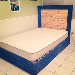 Hand made Beach Cottage Style Platform Bed/Headboard - All 100% Wood. Hand Made. rustic beachy look.
