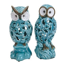"BZBZ38873 - Decorative Ceramic Owl in Blue with Well Design (Set of 2) - Decorative Ceramic Owl in Blue with Well Design (Set of 2)). Enhance the aesthetics of your home interiors with this ceramic owl (Set of 2) which features an attractive design. It comes in the following dimensions 6''W x 5""D x 11 ""H. 5''W x 5""D x 11""H. Some assembly may be required."