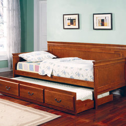 """Coaster - Louis Philippe Twin Size Daybed - Oak - This beautiful Louis Philippe daybed collection style daybed will be a great addition to the youth or space bedroom in your home. This classic piece features shapely molding and clean lines. The twin daybed is multifunctional, and has a pull out trundle below to easily accommodate an overnight guest. Antique style metal bail handles accent the trundle front, and make it simple to pull out from under the bed. Available in a warm cherry, medium oak, and rich black finishes.; Traditional Style; Louis Philippe Collection; Oak finish; Some assembly required.; Dimensions: 81""""L x 42.5""""W x 39.50""""H"""