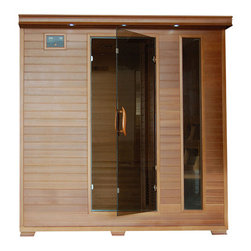 "Blue Wave - Blue Wave 6 Person Cedar Carbon Sauna - Great bear - 6 person cedar infrared sauna with carbon heaters the great bear 6 person cedar infrared sauna is perfect for relaxing and rejuvenating. With it's two stagecoach style benches, there's enough room for the whole family to enjoy sauna time together! the natural Canadian red cedar will enhance any decor. Its dual interior and exterior led control panels allow for easy temperature control. Great bear is loaded with tons of extras, including towel hooks and magazine rack, cd player with mp3 plug-in, backrests, color therapy light and an oxygen ionizer. The great bear is perfect for basking in the warmth with your family or friends - add one to your home today! heaters 10 carbon heaters - more heaters means your heatwave infrared sauna; is more effective! location - the great bear has 3 heaters on each side wall, 1 in front of each bench, and 2 in the floor. These 10 carbon heaters evenly bask you in soothing infrared heat. Infrared wavelength - heatwave saunas; put out far infrared wavelengths from 5-12 microns, which are the portions of infrared heat that most benefit the human body. Operating temperature - heatwave saunas; operate up to 141 degrees f. 2700 watts - see power distribution diagram for individual heater locations and wattages. Wood and construction heatwave saunas; are made of solid Canadian red cedar and are constructed with tongue and groove assembly. The exterior of the sauna is stained with an appealing, natural color; the interior is smooth sanded natural wood. Power requirements this heatwave sauna; uses 120V/20 amp power. Note: electrical modifications may be required to accommodate 20 amp power. Features control panel heatwave saunas; come equipped with dual easy-touch interior and exterior led control panels - easily adjust your sauna settings from inside or outside. Bronze tinted glass the door and glass panels on heatwave saunas; are made of beautiful, 8Mm thick, bronze tinted tempered glass. The tint provides a bit of privacy and aids in heat retention, while providing the safety of tempered glass. Lighting sauna is equipped with interior and exterior lighting, as well as a color therapy light with remote. Enjoy some reading while basking in the warmth of your heatwave sauna; sound system the sauna comes standard with a radio with cd player and aux mp3 connection with built in speakers, so you can crank up your favorite tunes while soaking up all the health benefits of your sauna! other inferior sauna brands make you pay extra for this option, but every heatwave sauna; comes with a sound system standard. Air vents the adjustable roof vent allows you to open the vent to bring in outside air if desired. Vent holes in the floor help provide air circulation. Color therapy bulb the color therapy bulb allows you to bask in rotating colors, or choose a steady stream of one of the six available colors. Enhances the sauna experience. Other sauna brands offer this as an option for an additional cost, but the color therapy system is included with this heatwave sauna; a $99. 95 value! control panel for color therapy light the color therapy light system is easily controlled with the control panel located inside the sauna. Color therapy adjustments are at your fingertips. Ergonomic back rests the 6 person heatwave saunas; include 6 movable cedar backrests, for ultimate sauna comfort. Back rests can be moved to any desired location, making your sauna session even more comfortable and enjoyable. Oxygen ionizer the included electronic oxygen ionizer releases negative ions, which help purify the air in your sauna, keeping it clean and fresh. The ionizer is an optional feature with many inferior sauna brands, but it's included in this heatwave sauna;! a $49. 95 value! capacity - the great bear will comfortably seat up to 6 people on the extra deep stagecoach style benches that run along each side of the sauna. Product dimensions - once assembled the great bear sauna measures approximately 75"" x 59"" x 76"". See dimension diagram for details. Assembly heatwave saunas; come partially assembled, and to complete assembly you will need 2 people, a screwdriver, a ladder and about an hour. Comprehensive instruction manual is included, and in a very short amount of time your sauna will be ready for use! warranty 5-year warranty on heaters, structure and electrical. 1-year warranty on radio. Certification heatwave saunas; are proudly backed by cetl, which is etl valid in U. S. and Canada. Shipping information shipping weight - 509 # of cartons - 3 shipment dimensions - 78""X78""X31""."