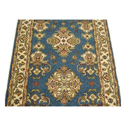 Momeni - Persian Garden 30 Inch Runner Traditional Stair Runner Teal - Stair & Hallway Runners Are Sold By The Linear Foot!