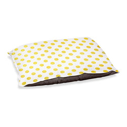 "DiaNoche Designs - Dog Pet Bed Fleece - Colored Dots Yellow - DiaNoche Designs works with artists from around the world to bring unique, designer products to decorate all aspects of your home.  Our artistic Pet Beds will be the talk of every guest to visit your home!  BARK! BARK! BARK!  MEOW...  Meow...  Reallly means, ""Hey everybody!  Look at my cool bed!""  Our Pet Beds are topped with a snuggly fuzzy coral fleece and a durable underside material.  Machine Wash upon arrival for maximum softness.  MADE IN THE USA."