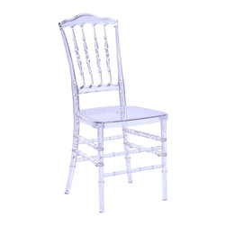 Lemoderno - Fine Mod Imports  Acra Dining Chair, Clear - The Acra Dining Chair is both elegant and versatile. Made of ultra strong polycarbonate, the Acra Dining Chair is perfect for indoor and outdoor use. As a lightweight chair that is stackable, it has great uses for �wedding party, ballrooms, banquets, homes or any other events. Use as is or dress it up with ties, bows or other elements of choice. Material: Polycarbonate    Assembled