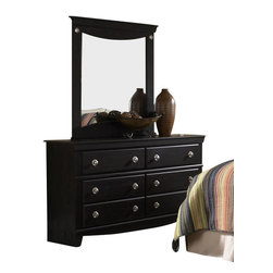 Standard Furniture - Standard Furniture Carlsbad Dresser with Mirror - Carlsbad features a modern style through a blend of clean lines and simple adornments. Wood and wood products with simulated wood grain laminates. Group may contain plastic parts. French dovetail drawer construction with roller side drawer guides. color finish. Dark, Pecan color with a rubbed-through appearance Surfaces clean easily with a soft cloth.