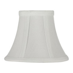 "The Gallery - Set of 5 - White Clip on Silk Shades for chandelier or Lamps - Set of 5 shades. These shades are great for lamps or chandeliers. They are attached by easily clipping on to the bulb. Size H 5"" W6"""