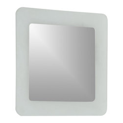 Decor Wonderland Mirrors - Decor Wonderland Bella Modern Bathroom Mirror - Unique design, elegant look. The simple square shaped mirror features a sandblasted border and rounded corners. The invisible mounting hardware is designed to keep the top and bottom of the mirror flush against the wall.