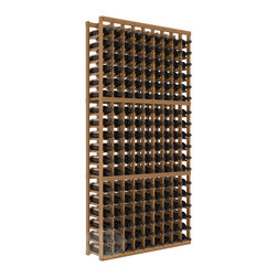 9 Column Standard Cellar Kit in Redwood with Oak Stain + Satin Finish - A 9 column solution from our most popular style of wine racking. Completely solid assembly to withstand extensive use. We guarantee it. All the edges of our products are softened to ensure you won't get nicks or splinters, like you will from budget brands. You'll be satisfied. We guarantee that, too.
