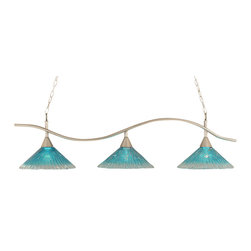 "Toltec - Toltec 893-BN-715 BRUSHED NICKEL Finish 3-Light BAR with 16"" Teal Crystal Glass - Toltec 893-BN-715 Brushed Nickel Finish 3-Light Bar with 16"" Teal Crystal Glass Shades"
