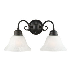 Design House - Design House 514471 2 Light Down Lighting Wall Sconce from the Millbridge Collec - 2 Light Down Lighting Wall Sconce from the Millbridge CollectionThe Design House 514471 Millbridge Wall Mount, part of the Millbridge Collection, is simple and affordable with a well-built design. This fixture features 2 tea cup lights made of alabaster glass, which are connected side by side with a decorative bronze finish. This product is designed for indoor lighting and blends traditional aesthetics with the latest trends in interior design. Providing your home with warm nurturing light, this product keeps bedrooms and dining areas well lit. With glare-free illumination and spot-on color rendition, this light is perfect for your bathroom or lavatory. This light meshes modern aesthetics with industry leading features and offers safe, glare-free light. The oil rubbed bronze finish adds warmth to any room and the simple design matches any decor. This collection is available in a wide range of styles to accent any room or home decor. This light is perfect for hallways, bedrooms and dining areas and is a beautiful accent to any wall. This product uses a (2) 60-watt bulb (not included) and can be mounted up or down. This item is UL listed to ensure the highest quality possible and comes in a variety of styles to meet your home decor needs. The Design House 514471 Millbridge Wall Mount comes with a 10-year limited warranty to the original purchaser to be free from defect in materials and workmanship. With a strong corrosion resistant finish, this product attests to the quality of all Design House products, and integrates traditional curves with the amenities of industry leading features. Design House offers products in multiple home decor categories including lighting, ceiling fans, hardware and plumbing products. With years of hands-on experience, Design House understands every aspect of the home decor industry, and devotes itself to providing quality products across the h