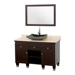 Wyndham - Premiere 48in. Bathroom Vanity Set - Espresso - A bridge between traditional and modern design, and part of the Wyndham Collection Designer Series by Christopher Grubb, the Premiere Single Vanity is at home in almost every bathroom decor, blending the simple lines of modern design like vessel sinks and brushed chrome hardware with transitional elements like shaker doors, resulting in a timeless piece of bathroom furniture.