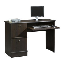 Sauder - 2 Drawer Computer Desk in Cinnamon Cherry Fin - 2 Drawers. Flip-down molding reveals slide-out keyboard and mouse shelf with metal runners and safety stops. Hidden storage behind simulated drawer. Lower drawer holds letter-size hanging files. Patented T-lock drawer system and patented slide-on molding. Made of engineered wood. Assembly required. 47 in. W x 19 in. D x 30 in. H