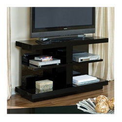 """Standard Furniture - Folio 48"""" TV Stand - The sleek contemporary lines will enhance any living environment. Features: -Sizable design offers enough room for a multitude of uses.-Shelves on bottom are perfect for placing decorative items.-Clean lines and simple design allows Folio to blend easily with other styles in your home.-Surfaces clean easily with a soft cloth.-Folio collection.-Finish: Black.-Powder Coated Finish: No.-Gloss Finish: No.-Material: Manufactured Wood.-Number of Items Included: 1.-Solid Wood Construction: Yes.-Distressed: No.-Exterior Shelves: No.-Drawers: No.-Cabinets: No.-Scratch Resistant: No.-Removable Back Panel: No.-Casters: No.-Accommodates Fireplace: No.-Fireplace Included: No.-Lighted: No.-Media Player Storage: No.-Remote Control Included: No.-Batteries Required: No.-Swatch Available: Yes.-Commercial Use: No.-Collection: Folio.-Eco-Friendly: Yes.-Recycled Content: No.-Lift Mechanism: No.-Expandable: No.-TV Swivel Base: No.-Integrated Flat Screen Mount: No.-Non-Toxic: No.Specifications: -ISTA 3A Certified: Yes.-CARB 2 Certified: Yes.-CARB Certified: Yes.-FSC Certified: No.-General Conformity Certified: Yes.-CSA Certified: No.-EPP Certified: No.Dimensions: -Overall Height - Top to Bottom: 30.-Overall Width - Side to Side: 48.-Overall Depth - Front to Back: 18.14.-Drawer: No.-Shelving: -Shelf Height - Top to Bottom: 10.84.-Shelf Width - Side to Side: 43.77.-Shelf Depth - Front to Back: 13.77..-Cabinet: No.-Legs: No.-Overall Product Weight: 111.3.Assembly: -Assembly Required: Yes.-Additional Parts Required: Yes.Warranty: -1 Year warranty."""