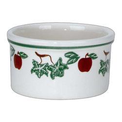 Renovators Supply - Bowls Stoneware White Ceramic Kitchen Bowl 4 1/2 H x 7 5/8 Dia - Kitchen Ceramic Bowl. This ceramic bowl measures 4 1/2 H x 7 5/8 dia. inch. The inside diameter is 6 5/8 inch. This ceramic bowl has an apple motif.