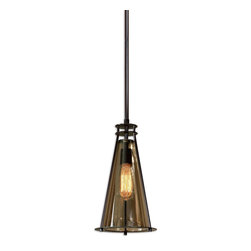 Uttermost - Uttermost Frisco 1 Light Black Metal Mini Pendant 21965 - Plated cognac tinted glass accented with rustic black metal details. 40 watt antiqued style bulb included.