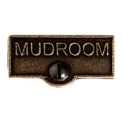 Renovators Supply - Switch Plate Tags Antique Brass MUDROOM Switch Tag 1 11/16'' W - Forget which switch is for what? Try our ID switchplate tags and identify your switches. Our switchplate ID tags are made from SOLID CAST BRASS and come with a TARNISH-RESISTANT ANTIQUE BRASS finish. EASY installation and fits standard switchplates. Coordinating screw included. Measures 13/16 in. H x 1 11/16 in. W.