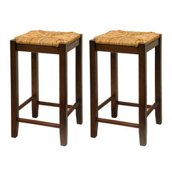 Winsome - Set of 2 Rush Seat 24 in.  Stools - This classic design stool has woven rush seat top with its broad square seat. Its adds traditional feel to any kitchen. Warm walnut finish.