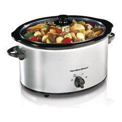 Ham.Beach/Proctor Silex - Slow Cooker 5 Qt Chrome - 5 quart slow cooker is dishwasher safe stoneware and lid. Keep warm setting. LID LATCH strap. Includes recipes.          Classic Chrome  Cap Qt=5